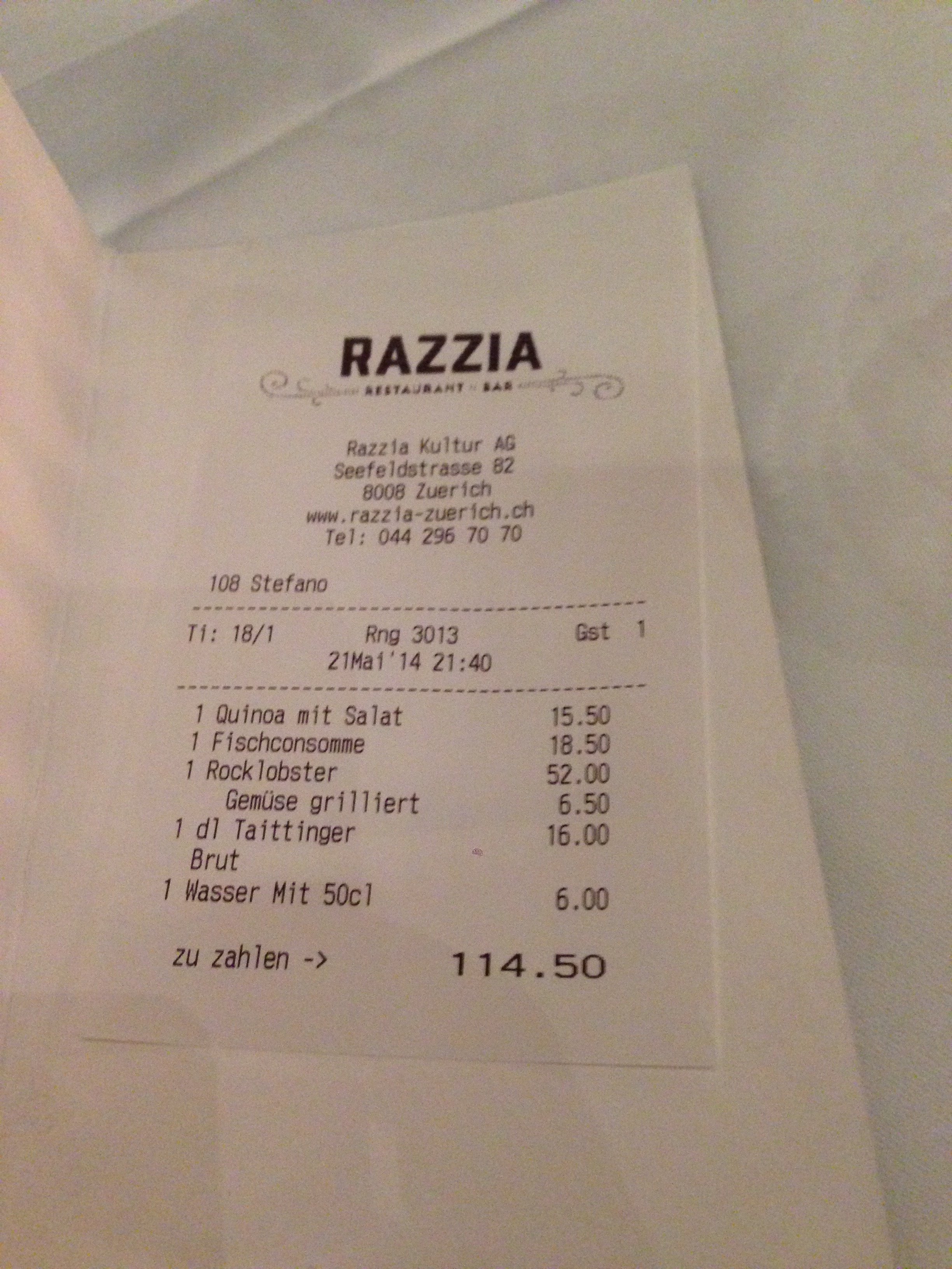 Razzia, Seefeldstrasse, Zurich | Dinner | The real picky gourmet